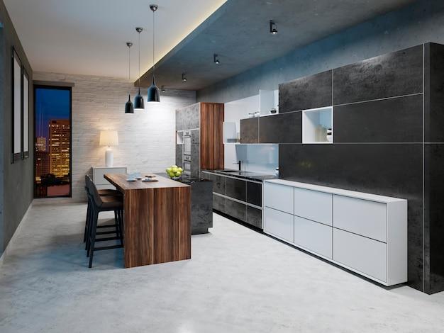 흰색과 검은색 디자인의 현대적인 주방 카운터. 3d 렌더링
