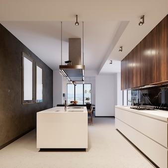 갈색과 흰색 가구가 있는 현대적인 주방 인테리어입니다. 디자인 및 라이프 스타일 개념입니다. 3d 렌더링
