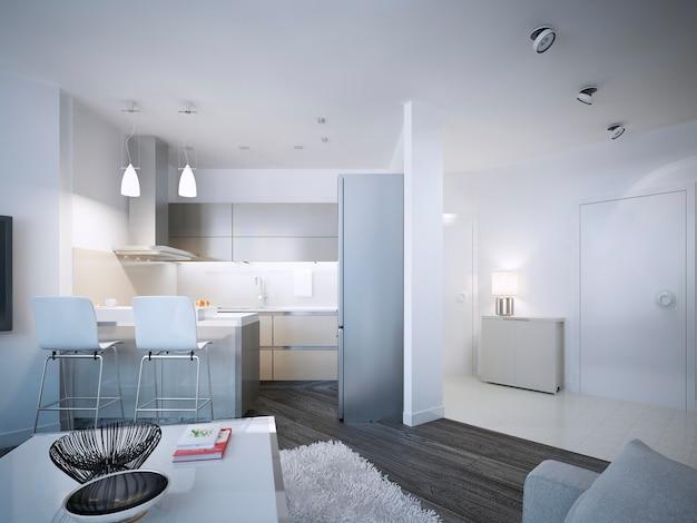 アクリルのバックスプラッシュと2つの椅子のあるカウンタートップバーを備えた現代的なキッチンスタジオのデザイン