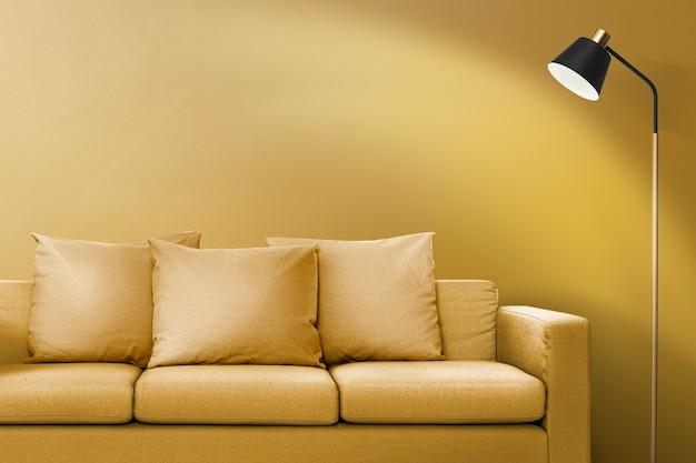 Современный дизайн интерьера гостиной с желтым диваном