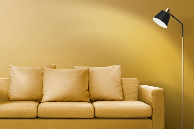 Contemporary living room interior design with a yellow sofa