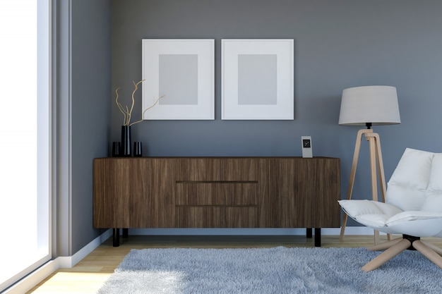 Contemporary living room interior with grey wall and blank photo frames, 3d rendering
