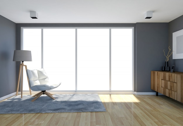 Contemporary living room interior with grey wall and large windows, 3d rendering