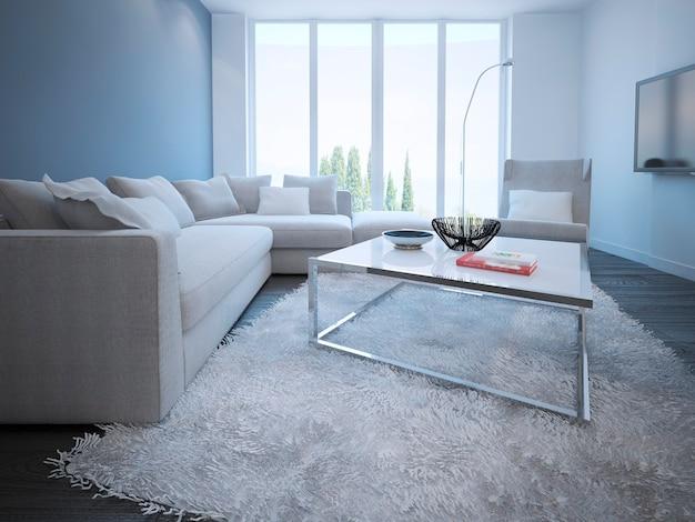흰색과 파란색 벽과 어두운 나무 바닥이있는 현대적인 거실 스타일