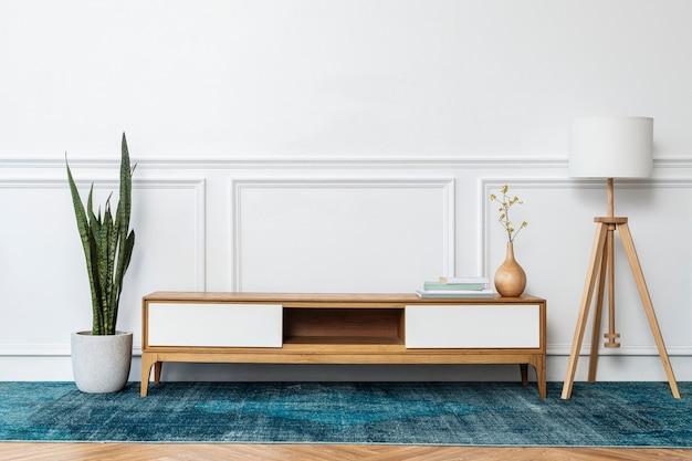 青いカーペットのある現代的なリビングルーム