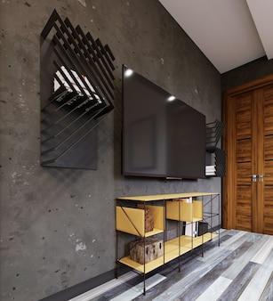 콘크리트 회색 벽에 선반이 있는 tv가 있는 현대적인 거실입니다. 3d 렌더링