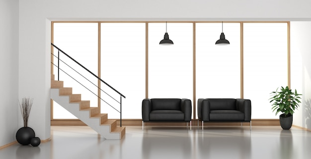 Contemporary living room with staircase and black armchairs