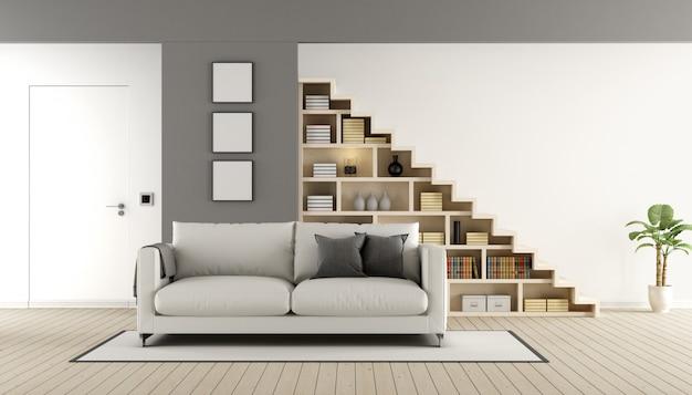 木製の階段とソファのある現代的なリビングルーム