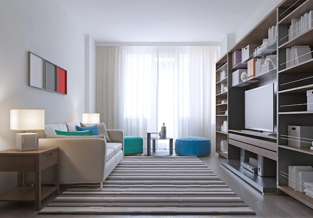Contemporary lounge room design and massive wall system in pale brown color with striped carpet on parquet floor.