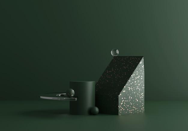 황금 테라 조와 유리와 짙은 녹색 톤의 현대 현대 추상 구성. 유행