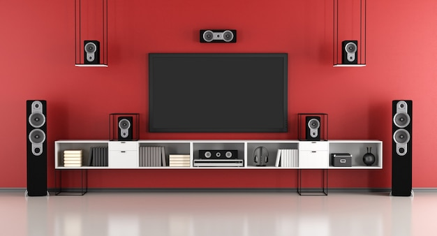 Contemporary red and black home cinema system. 3d rendering