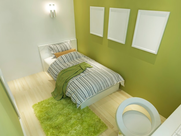 Contemporary room for a teenager with a big bed and mockup posters on the green wall. 3d render.