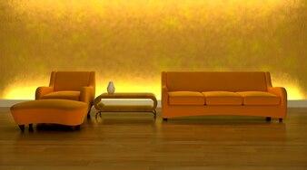 Contemporary sofa in modern room