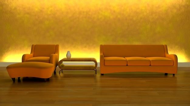 モダンな雰囲気の中で現代的なソファーのレンダリング3dは