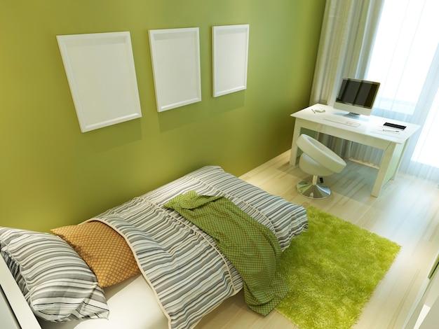 녹색 색상의 현대적인 청소년 객실로 침대와 책상이 있습니다. 벽에 모형 포스터. 3d 렌더링.