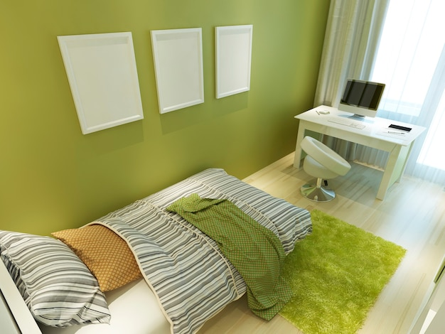 Contemporary teen room for green color with a bed and a desk. mockup posters on the wall. 3d render.