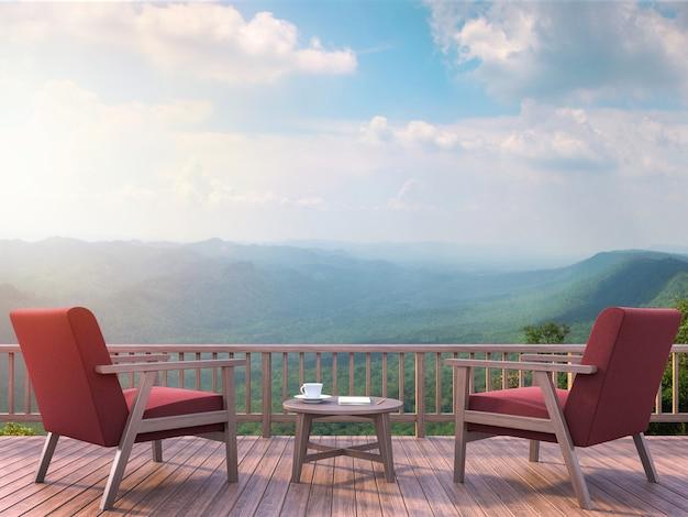Современная терраса с видом на горы, 3d визуализация обставлена креслом из красной ткани