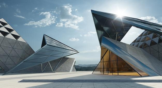 現代的な三角形のデザイン現代建築の建物の外観