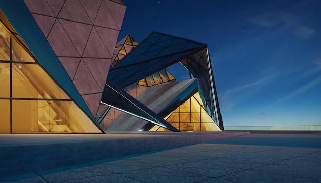 Contemporary triangle shape design modern architecture building exterior