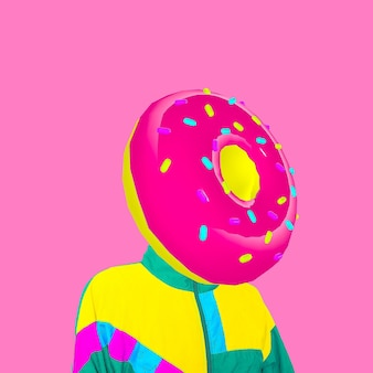 Contemporary visual art collage. minimal concept.  donut colorful mood. donut lover art