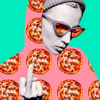 Contemporary visual art collage. minimal concept.  pizza lover. pizza porn. pizza girl. but first pizza