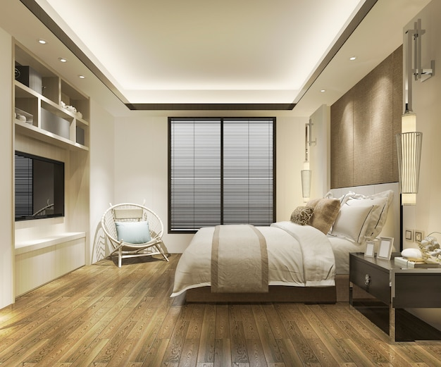 Contemporary wood bedroom with built in bookshelf