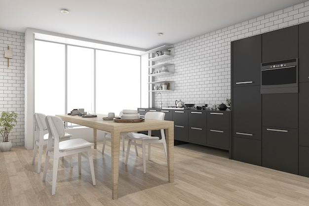 Contemporary wood kitchen with black built in