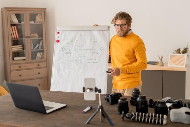 説明中にノートパソコンとスマートフォンのカメラの前にホワイトボードのそばに立っている蛍光ペンを持つ現代の若い教師