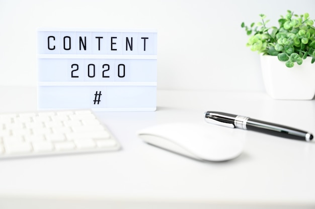 Content 2020 business concept,top view
