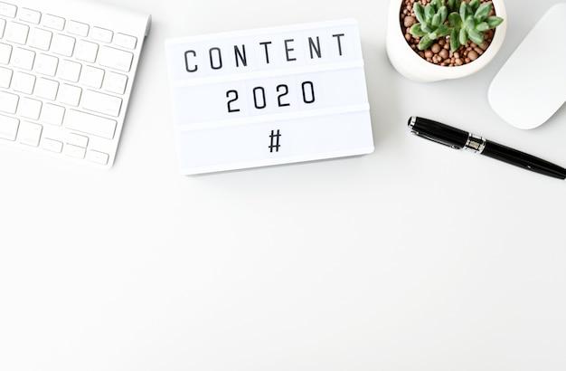 Бизнес-концепция content 2020, вид сверху