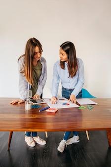 Content girlfriends exploring statistics