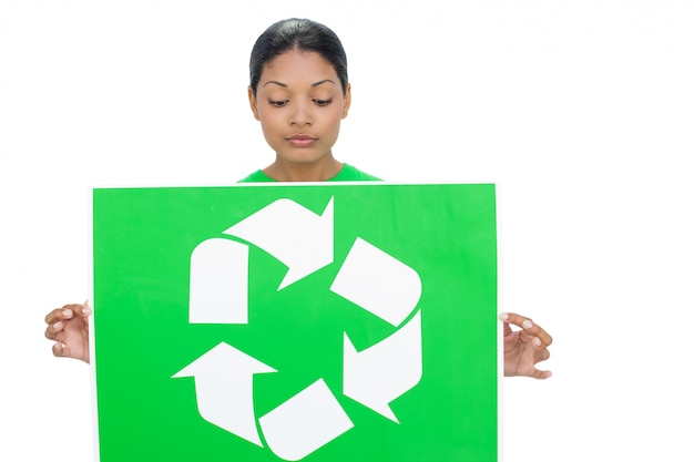 Content model holding recycling sign