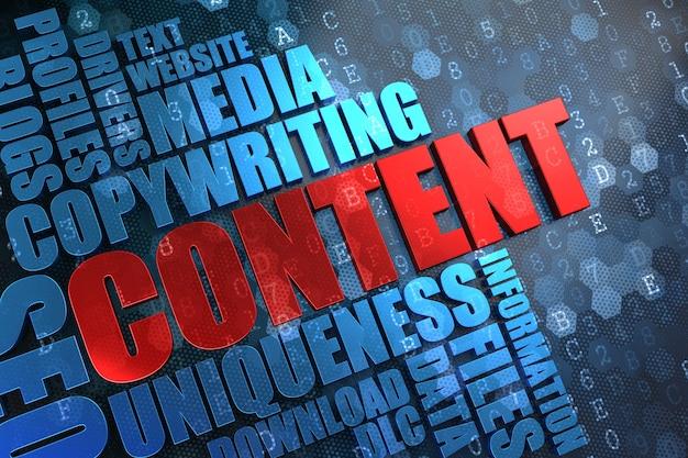콘텐츠-디지털 배경에 파란색 wordcloud가있는 빨간색 기본 단어.