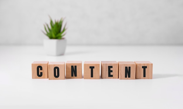 Content - word from wooden blocks with letters