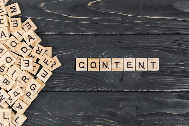 Content word on wooden background