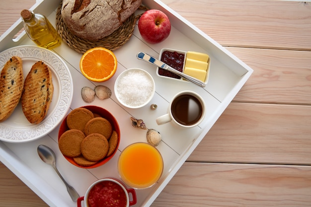 Continental buffet breakfast with coffee