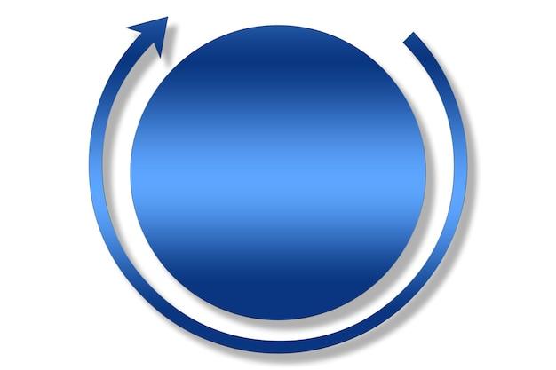 青いグラデーションの円と矢印の連続性の抽象的なイラスト