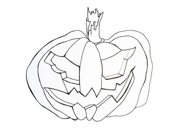 Contour halloween pumpkin for coloring isolated on white background