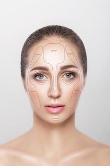 輪郭。灰色の背景に女性の顔を構成します。輪郭とハイライトメイク。