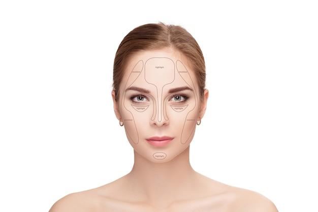 컨투어링. 흰색 바탕에 여자 얼굴을 확인합니다. 윤곽과 하이라이트 메이크업. 전문 얼굴 화장 샘플