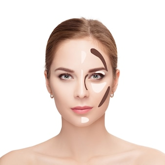 Contouring. make up woman face on white background. contour and highlight makeup. professional face make-up sample