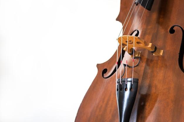 Детали контрабаса. деревянный струнный инструмент заделывают. белый