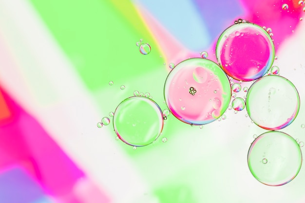 Contrast bubbles on colourful surface