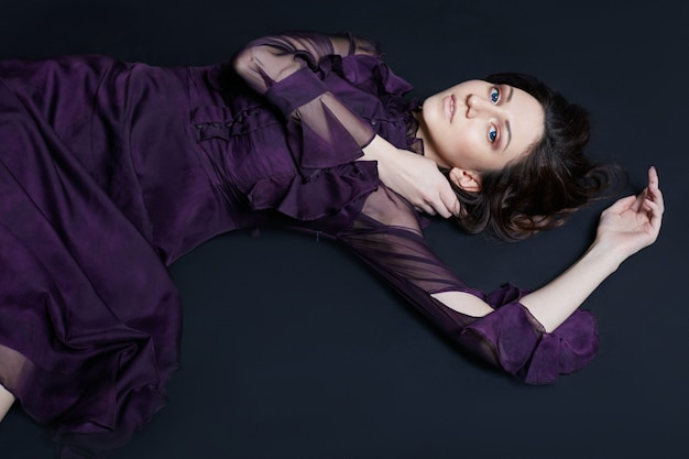 Contrast fashion armenian woman portrait big blue