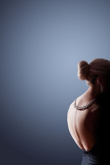 Contrast fashion woman portrait on dark