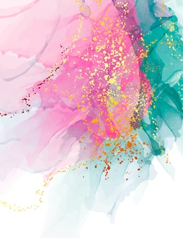 Contrast pink green ink watercolor background