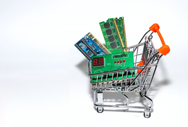 Элемент панели управления на белом фоне в корзине покупок