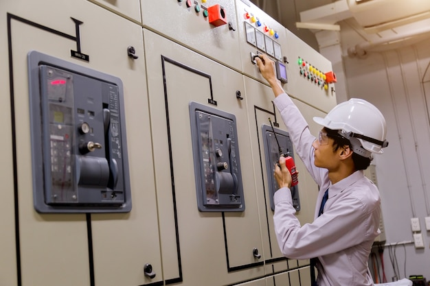 Control room engineer. power plant control panel.