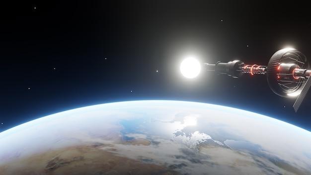 지구 주위의 밤에 떠 다니는 임무에서 조종 된 우주선