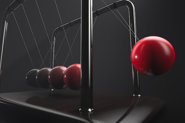 Conversion of kinetic energy into potential. newton's cradle in action